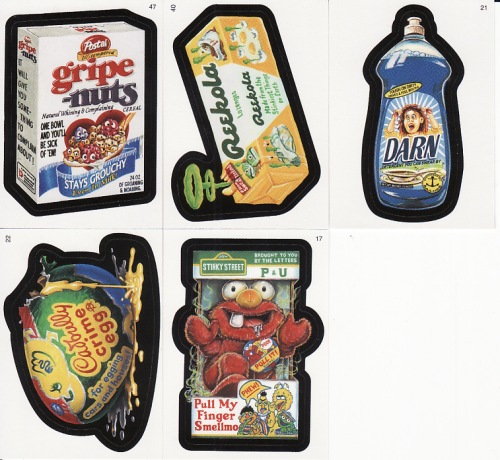 Wacky Packages series 3 Gripe Nuts Reekola Darn Cadbully Crime Egg Smellmo