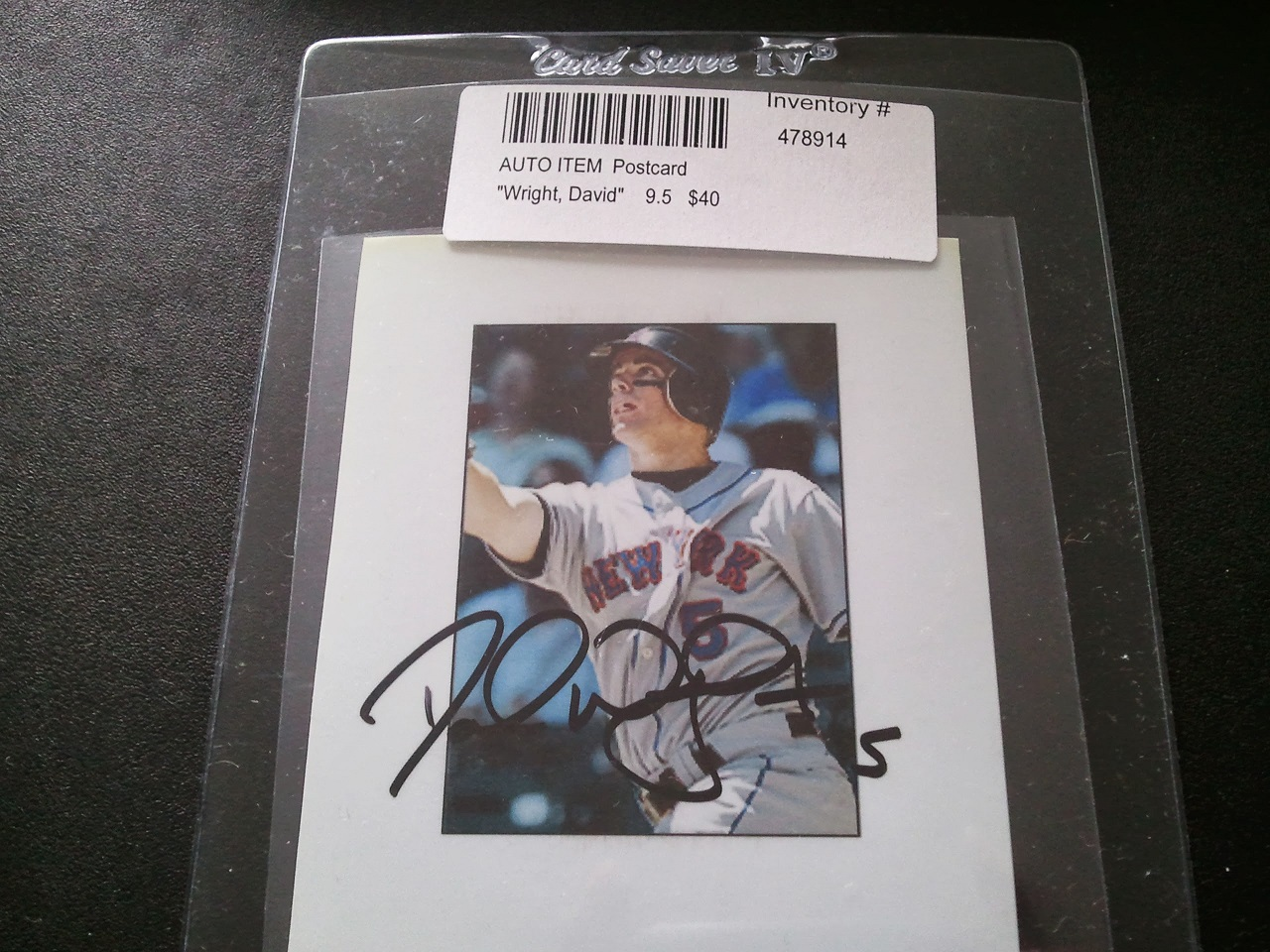 Wrapper redemption shot not taken for David wright signature