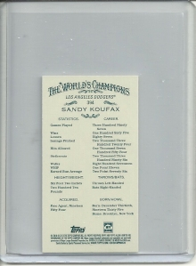 Sandy Koufax rip card mini back