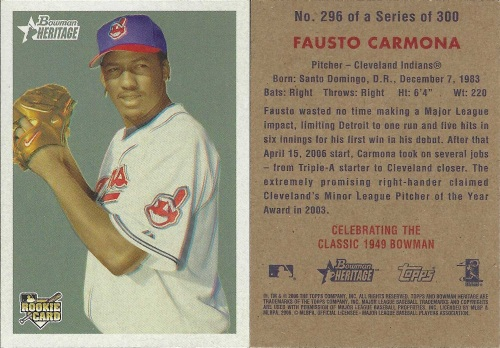 Fausto Carmona Rookie Card Front and Back