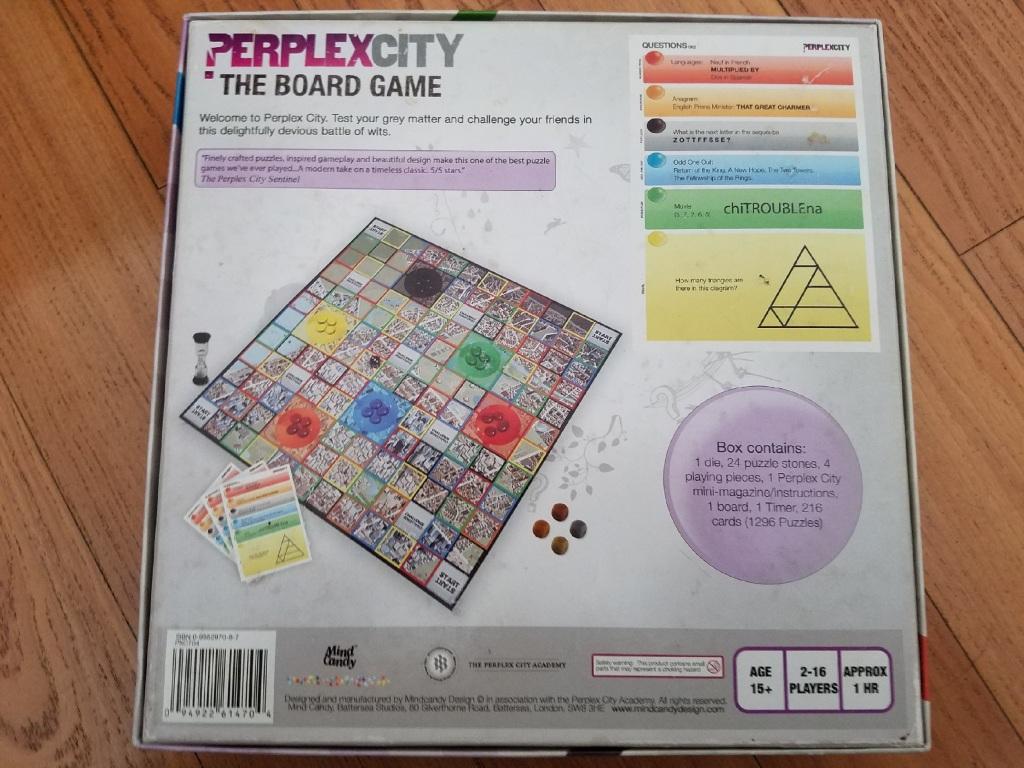 Perplex City Board Game Back